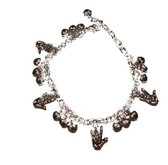 Bracelet with Small hearts and I LOVE YOU Sign hands (SILVER)
