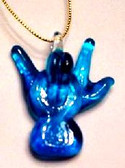 Blow Glass I LOVE YOU HAND ( Teal)
