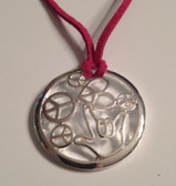 "Circle with Peace, Heart, and I LOVE YOU hand Silver Necklace  with adjustable chain 18"" to 20 "" (Marron Suede)"