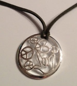 "Circle with Peace, Heart,  I LOVE YOU hand Silver Necklace  with adjustable chain 18"" to 20 "" (Olive Green Suede)"