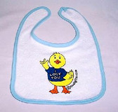 Deaf Duckies Baby Bib-Light Blue