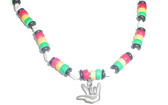 "Rasta Coco Bead and shell with color bead "" I LOVE YOU"" Sign Hand"