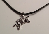 "Butterfly Sign Hands I LOVE YOU Necklace Suede  (Black) with adjustable chain 18"" to 20 """
