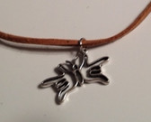 "Butterfly Sign Hands I LOVE YOU Necklace Suede (Light Brown) with adjustable chain 18"" to 20 """