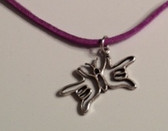 "Butterfly Sign Hands I LOVE YOU Necklace Suede (Purple) with adjustable chain 18"" to 20 """