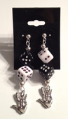 Black and White Dice with I LOVE YOU Earrings
