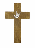 Wood Cross with I LOVE YOU Silver  Hang Wall