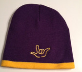 Knit Skull Cap Purple w/Gold Strip (OUTLINE I LOVE YOU HAND)