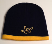 Knit Skull Cap Black w/Gold Strip (OUTLINE I LOVE YOU HAND)