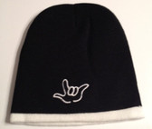 Knit Skull Cap Black w/ White Strip (OUTLINE I LOVE YOU)