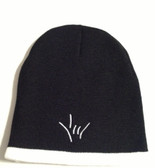 Knit Skull Cap Black w/ White Strip ( DRAW I LOVE YOU HAND)