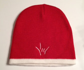 Knit Skull Cap Red w/ White Strip ( DRAW I LOVE YOU HAND)