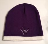 Knit Skull Cap Purple w/ White Strip ( DRAW I LOVE YOU HAND)
