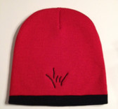 Knit Skull Cap Red w/ Black Strip ( DRAW I LOVE YOU HAND)