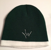 Knit Skull Cap FOREST GREEN w/ White Strip ( DRAW I LOVE YOU HAND)