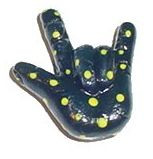 Black & Yellow Dots ( I LOVE YOU) hand with Magnet