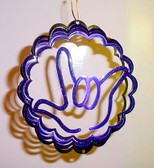 "Suncatchers Wind Illusions I LOVE YOU hand, Small 6"" Purple"