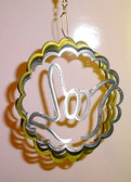 "Suncatchers Wind Illusions I LOVE YOU hand Small 6"" Silver"