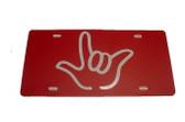 Auto License Plate with I LOVE YOU Sign Hand (Red/White Hand)