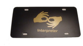 Auto License Plate with Interpreter Gold(Black Background)