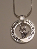"""Circle Ring word say """"Friendship"""" with I LOVE YOU Silver Necklace 16"""" to 30"""""""