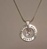 """Circle Ring word say """"Peace"""" with I LOVE YOU Silver Necklace 16"""" to 30"""""""