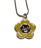 "Flower with Sign Language "" I LOVE YOU "" Necklace (Yellow and Blue)"