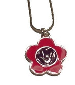 "Flower with Sign hand "" I LOVE YOU "" Necklace (Pink and Purple)"