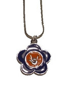 "Flower with Sign hand "" I LOVE YOU "" Necklace (Purple and Orange)"