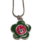 "Flower with Sign hand "" I LOVE YOU"" Necklace (Green and Pink)"