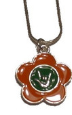 "Flower with Sign hand "" I LOVE YOU"" Necklace (Orange and Green)"