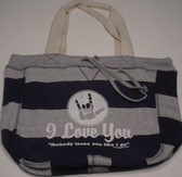 Beachcomber  Bag with No Body Loves You White (Navy Bag)