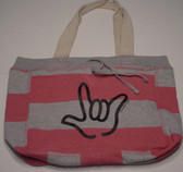 Beachcomber Bag with Black ILY Outline (Pink Bag)