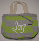 Beachcomber  Bag with White I LOVE YOU Outline (Lime)