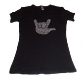 "Sign Full Hand  ""I LOVE YOU "" Rhinestones (Large Hand )  ADULT SIZE (BLACK SHIRT)"