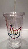 Tumbler with Straw Small Clear with Rainbow I LOVE YOU ( 16 oz.)