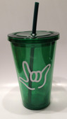 Tumbler with Straw Small Dark Green with White I LOVE YOU ( 16 oz.)