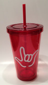 Tumbler with Straw Small Red with White I LOVE YOU ( 16 oz.)