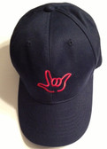 "Navy Cap with Outline Hand  ""I LOVE YOU ""  (RED THREAD)"