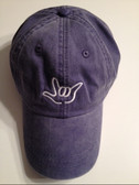 """Jean Blue Cap with Outline Hand  """"I LOVE YOU """"  (WHITE THREAD)"""