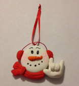 "Snowman (Red) Christmas Ornaments Sign hand "" I LOVE YOU ""  (very light weight )"