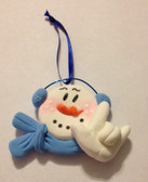 "Snowman (Blue) Christmas Ornaments Sign hand "" I LOVE YOU ""  (very light weight )"
