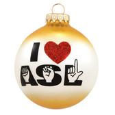 I ♥ ASL Glass Ornament