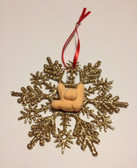 """Snow Flakes Ornaments with Sign Hand """" I LOVE YOU"""" ( Gold)"""