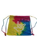 COLORTONE SPORT CINCH SACK (Spiral Rainbow) with Outline I LOVE YOU Hand (White)
