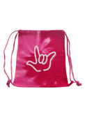 COLORTONE SPORT CINCH SACK (Spiral Red) with Outline I LOVE YOU Hand (White)