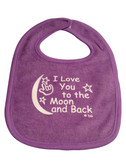 I LOVE YOU TO THE MOON AND BACK (PURPLE) BABY BIB