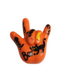"""ORANGE  (BOO)  """"I LOVE YOU"""" hand with Magnet"""