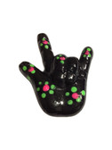 "BLACK WITH (DOT) DAISY  ""I LOVE YOU"" hand with Magnet"