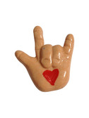 TAN HAND WITH HEART ( I LOVE YOU) HAND WITH MAGNET